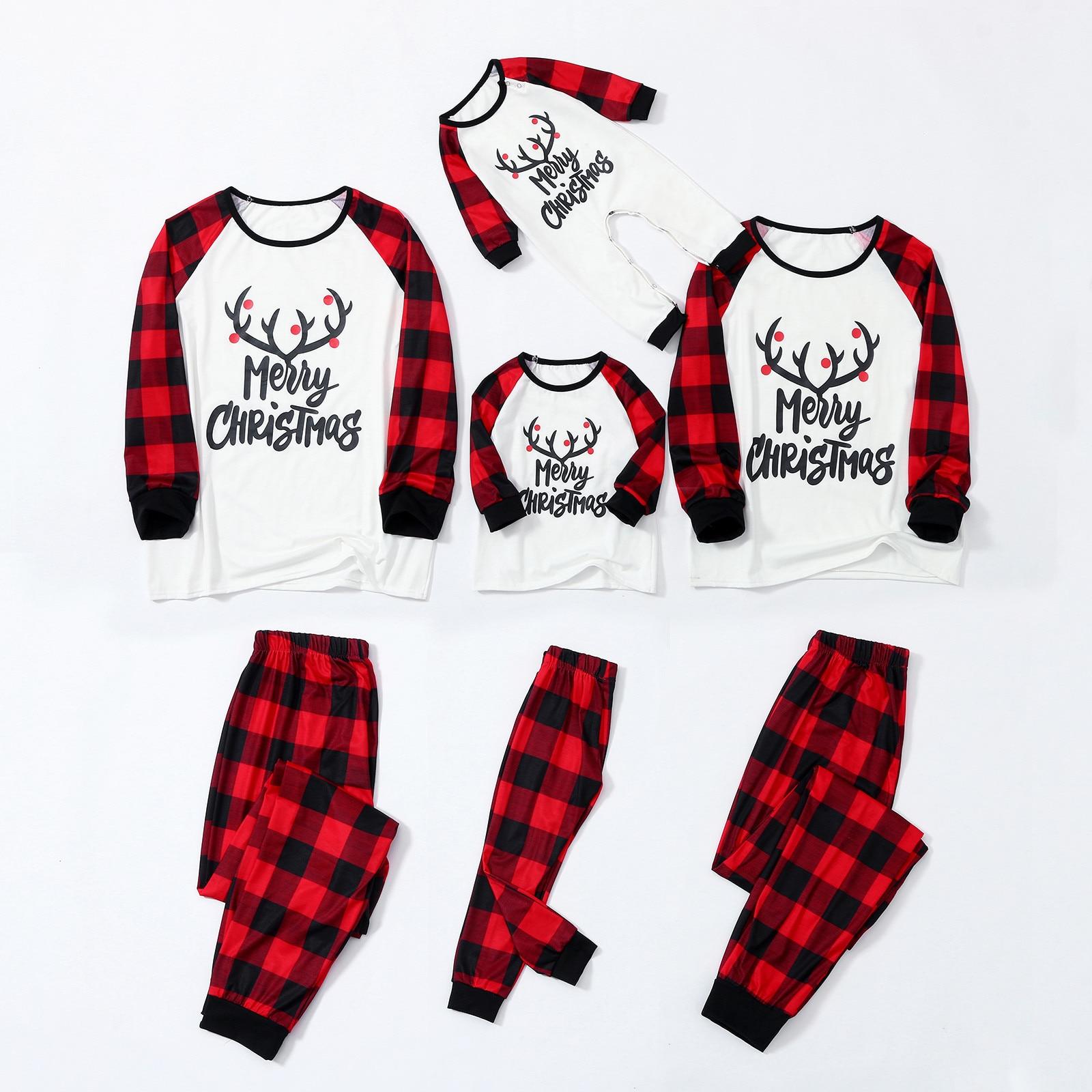 Pijamas De Navidad con letras impresas, ropa Familiar De Navidad, pantalones De...