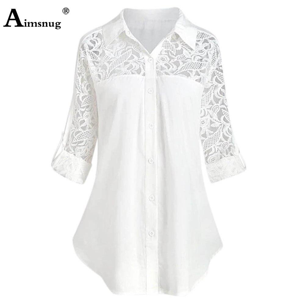 Plus size 4xl 5xl Women Elegant Leisure Casual Shirt Blouses Bohemian 2021 Spring Autumn New Patchwork Lace Botton Tops Clothing