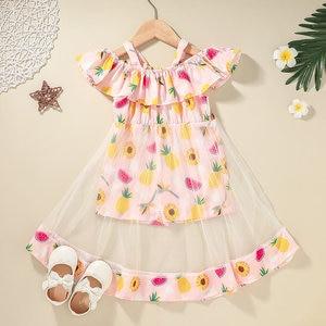 Summer Fashion Origin Girls dress Fruit Pattern Cotton Voile Girls Clothes 2 to 6 years