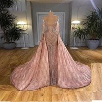gorgeous pink beaded crystal prom dreses off shoulder long sleeve evening gowns with detachable train dubai robes saudi arabia