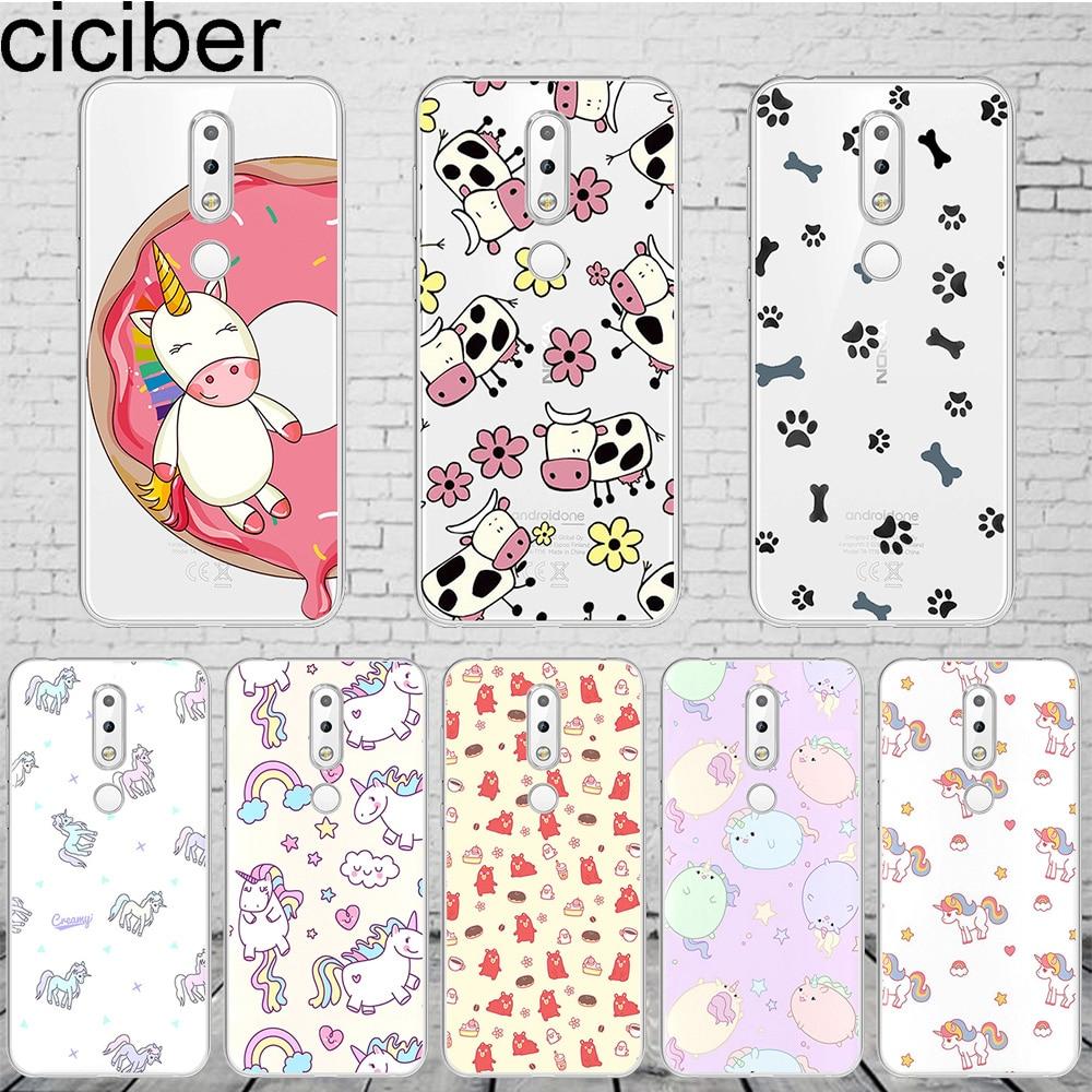 Ciciber Unicorn Animal Capa Para Nokia 8 8.1 7 7.1 6 6.1 5 5.1 3 3.1 2 Caixa Do Telefone Para Nokia 2.1 PureView 1 Plus 9 X7 X6 X5 X3