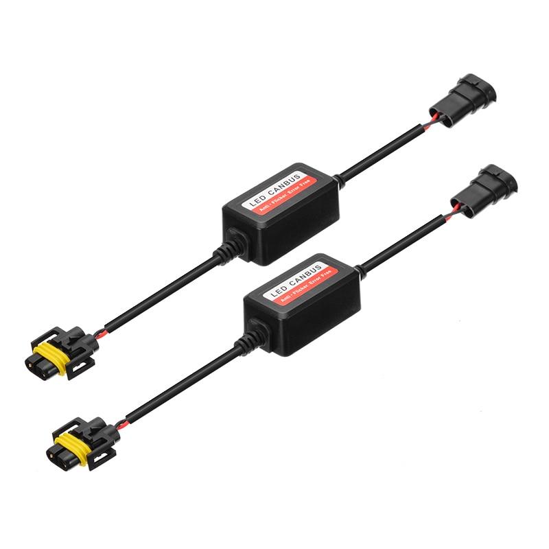 2pc h8 h9 h11 led farol decodificador can-bus emc aviso cancelador capacitor anti-cintilação resistor arnês canbus erro livre plug