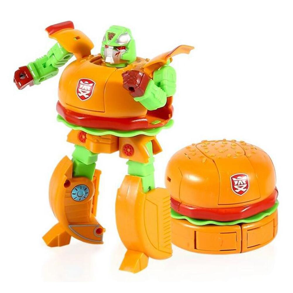 Transformable hamburguesa torta comida figura Robot deformador niños juguete fiesta favores