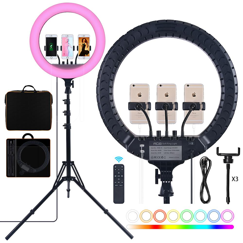 fosoto 18 Inch RGB Professional Ring Light Photography Led Ring Lamp With Remote USB Port Tripod For Phone Youtube Makeup Tiktok