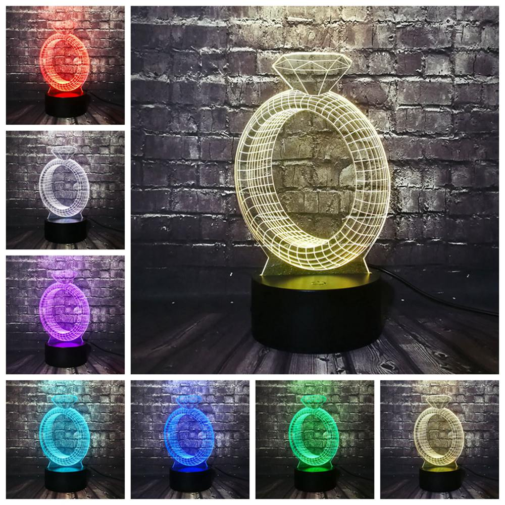 Romántico de 24 quilates diseño de diamante 3D USB Lámpara LED Multicolor RGB humor atmósfera de luz de la noche accesorios Dulce Amante regalo