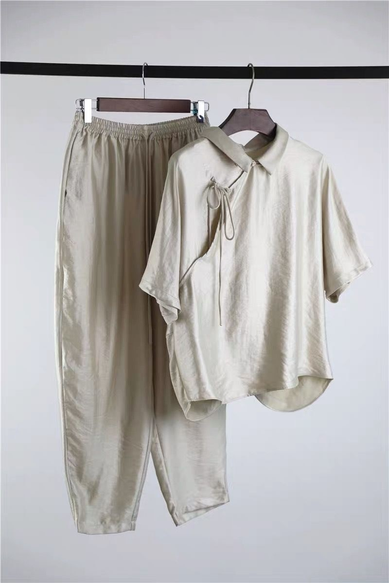 Odzież damska letni Temperament nowa zapinana zestaw koszul