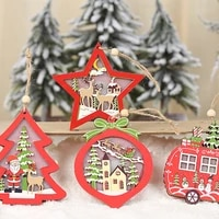 led light christmas ornaments tree hanging pendant star car heart wooden ornament christmas xmas party