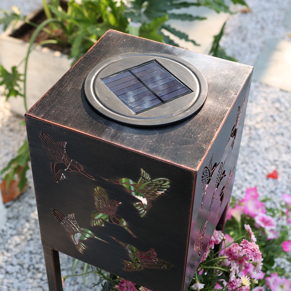 IP44 Waterproof Solar Powed Lamps Garden Double-deck Flower Stand LED Landscape Lights Iron Hollow Carving Lighting for Patio enlarge