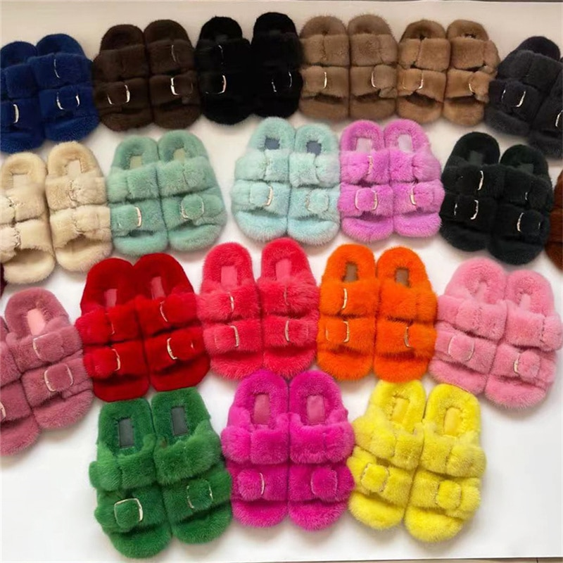 100% Mink Fur Slippers Luxury Fashion Fur Mink Fur Slippers Ladies Soft Comfortable Flat Shoes Home Shoes