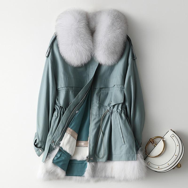 Natürliche Pelzmantel Frauen Winter Rex Kaninchen Pelz Liner Parka 2020 Vintage Warme Echt Fuchs Pelz Kragen Jacke Kurz Mantel hiver 01903