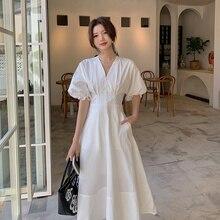Spot 2021 Summer New A- line Skirt V-neck Midi Dress Tea Dress