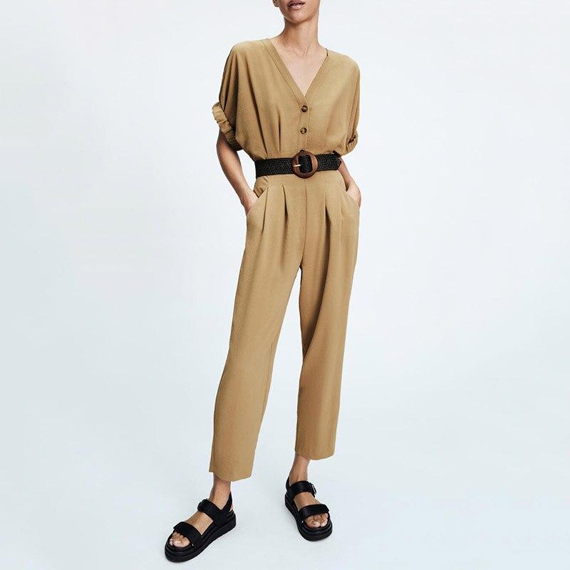 ZA صيف جديد موضة ماركة الملابس النسائية كل مباراة فضفاض الأدوات نمط بسيط عادية مع حزام طويل الخامس الرقبة بذلة