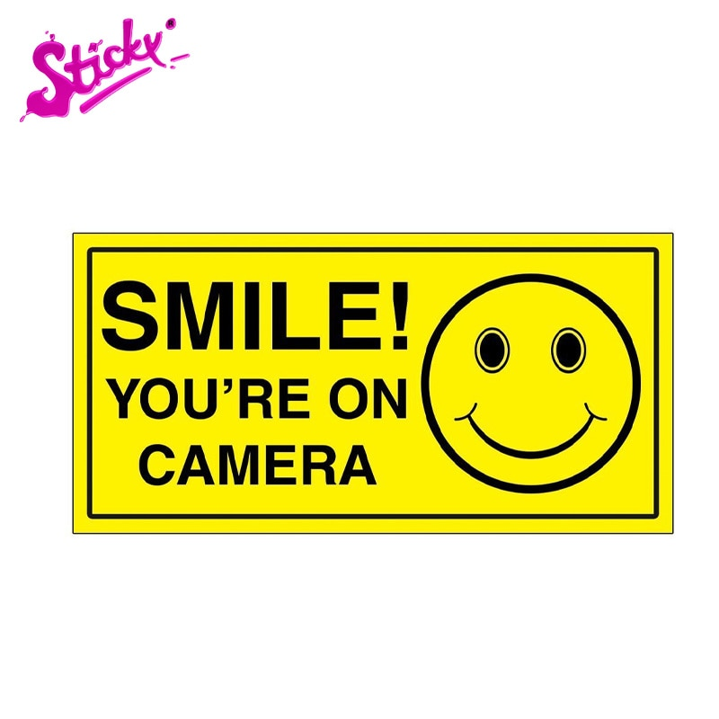 STICKY Smile You're On Camera Sign Warning Plaques & Signs Car Sticker Decal Decor Waterproof Wall Windows PVC Vinyl