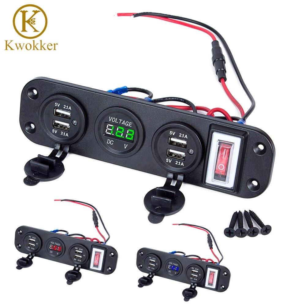 Dual USB Socket Charger cigarette lighter voltmeter LED Voltmeter ON-OFF Toggle Switch for Car Boat Marine Truck Camper Vehicles