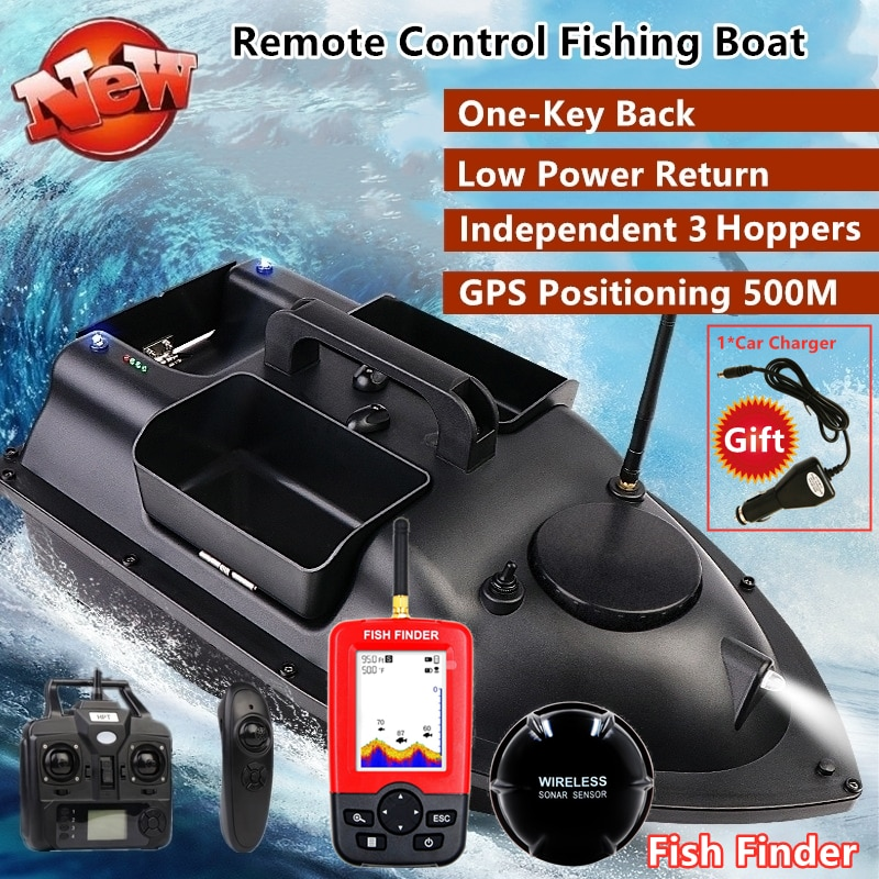 GPS Smart Return Fish Finder RC Cruise 500M Independentt Control 3 Hoppers LCD Screen Bait Boat enlarge