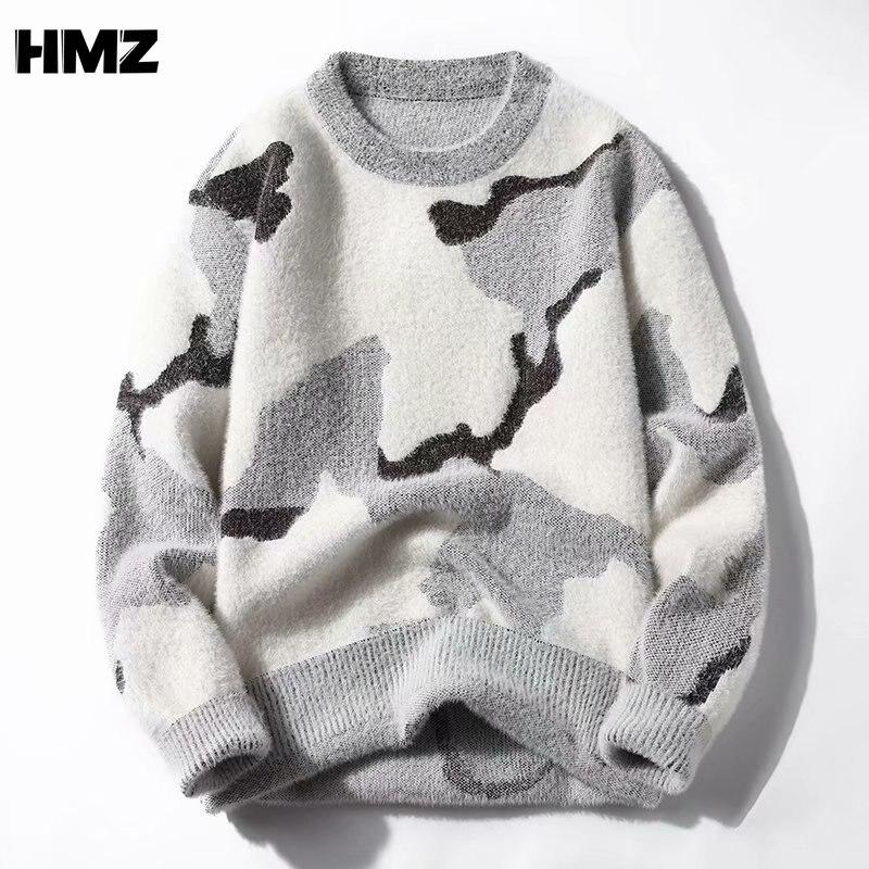 HMZ كنزات رجالية شتوية دافئة بلوفرات كورية رمادية بأكمام طويلة محبوكة بجودة عالية كنزات شتوية ناعمة كنزات سوداء دافئة للرجال
