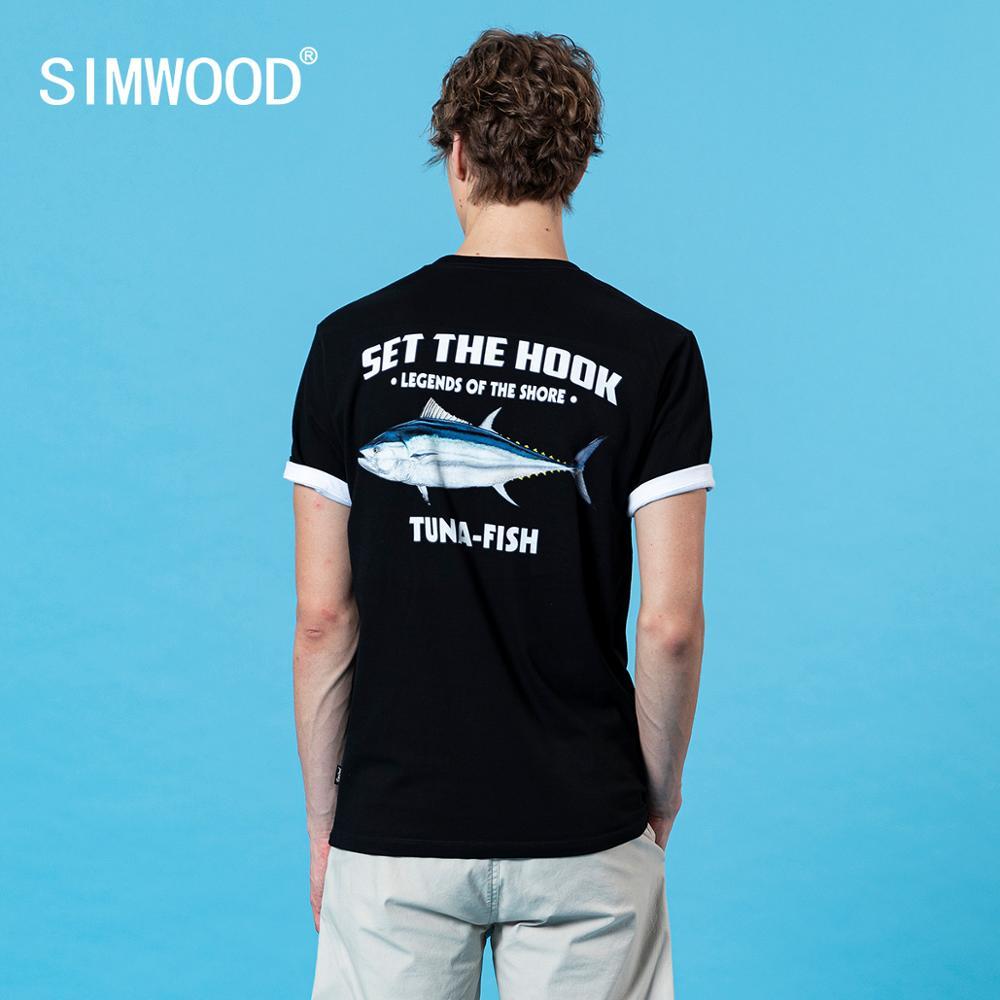SIMWOOD 2020 Summer New Back Tuna Fish Print T-shirts Men 100% cotton breathable Tops Plus Size Tees letter tshirt SJ120418