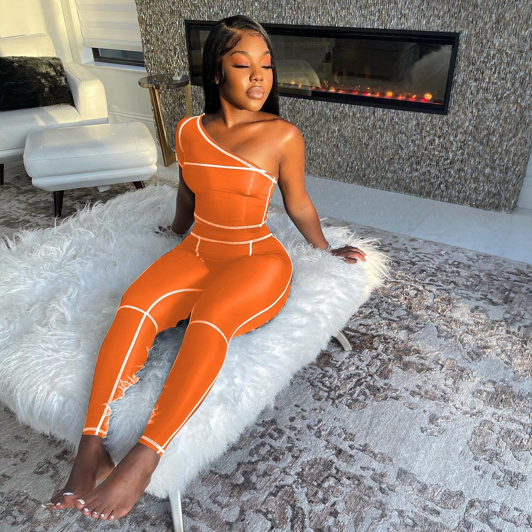Wholesale Bulk Items Lots Women Fitness Pant Suit Casual One Shoulder Sleeveless Crop Top+straiped Skinny Legging Co Ord Sets enlarge