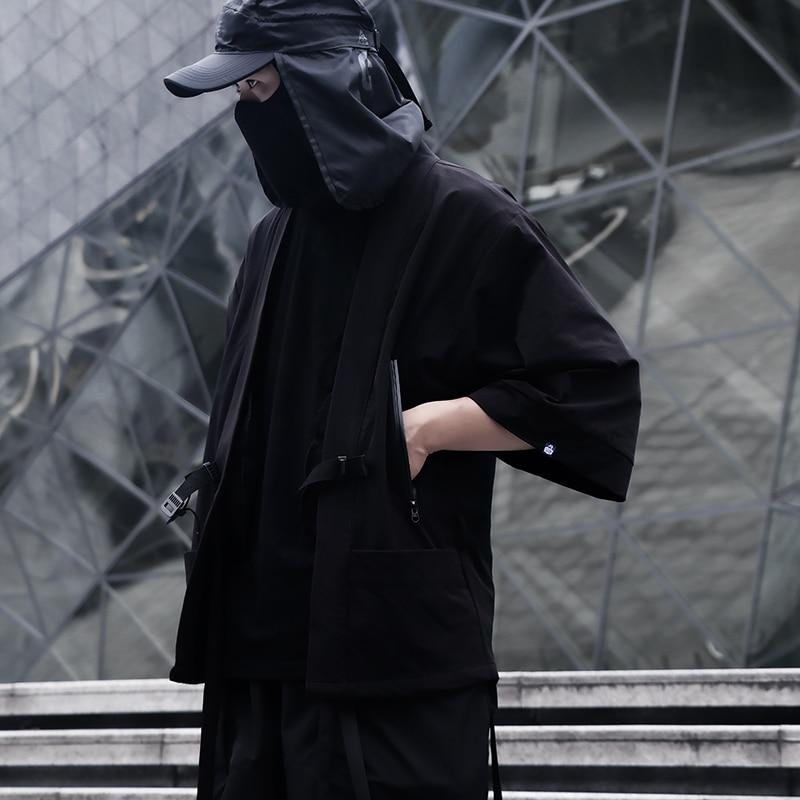 WHYWHORKS Techwear-رداء كيمونو أسود كبير الحجم ، سترة هيب هوب بانك مقاومة للشمس ، كيمونو ساموراي