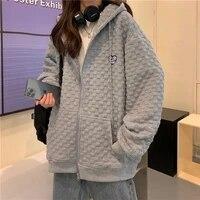 korean style long sleeve couple waffle coats y2k hoodies sweatshirts 2021 women fashion zipper solid white autumn kawaii clothes