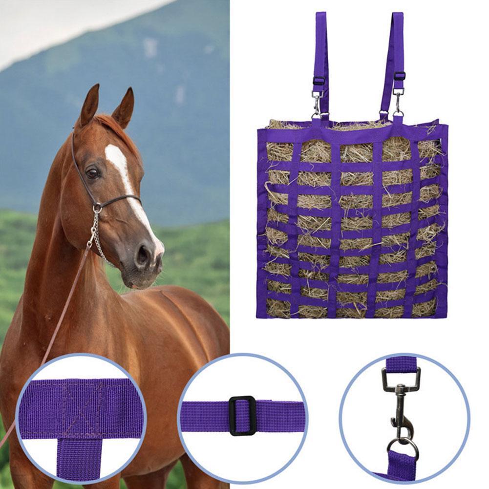 Horse Hay Bag Four-sided Multi-lattice Farm Animal Carry Hay Bale Bag Feeding Storage Convenient Bag L2Y5