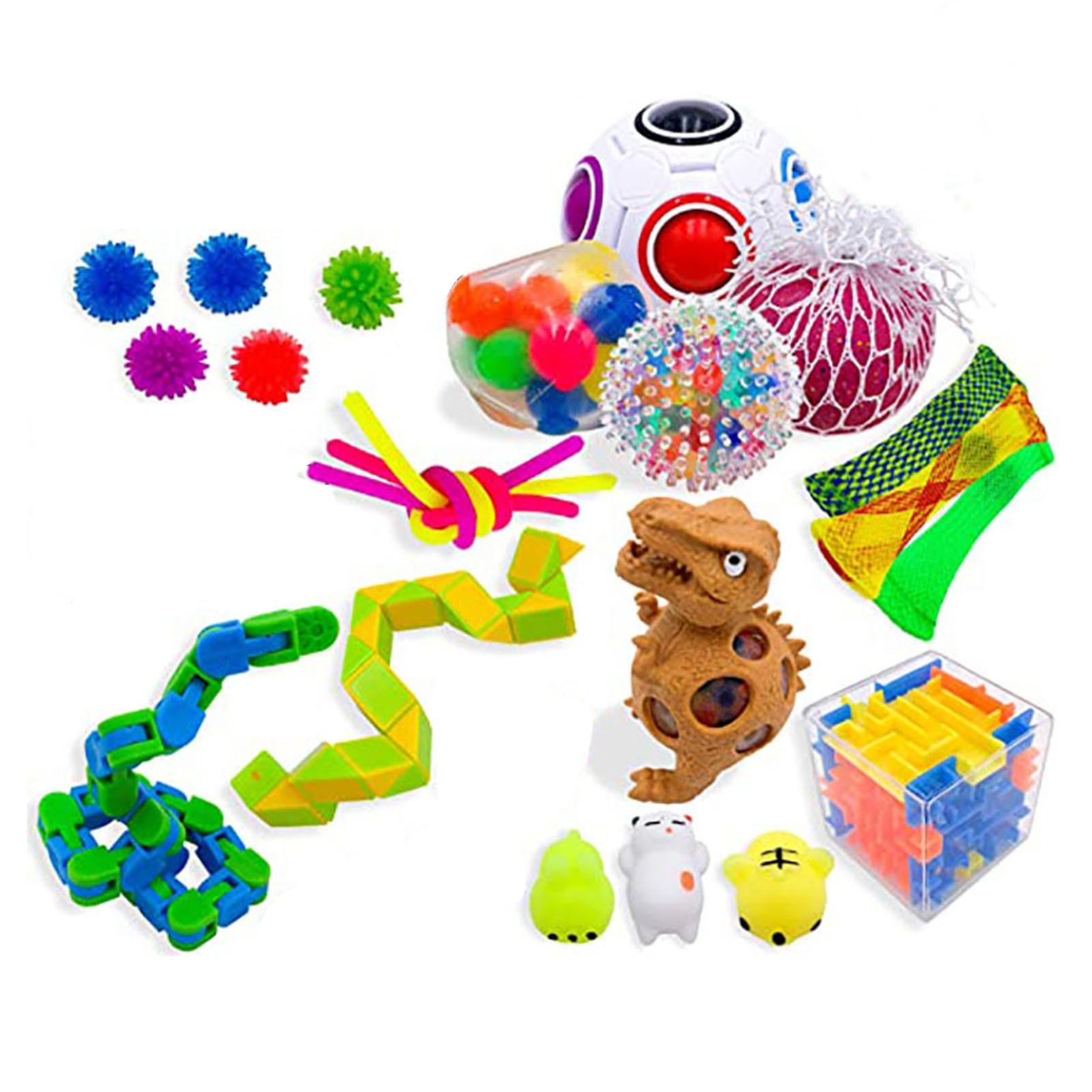 Fidget Sensory Toy Anti Stress Toy Set Pop Bubble Stretchy Strings Mesh Marble Fidget Simple Dimple Toys For Kids Adults