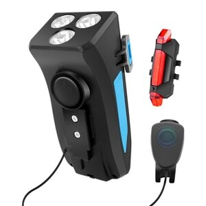 Hot-Bike Light Set USB Rechargeable Waterproof 4000MAh Front Headlight with Phone Holder and 4 Modes Tail Light