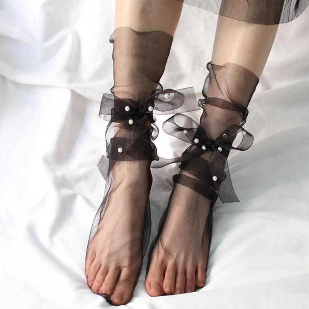 Летние ультратонкие тюлевые носки женские прозрачные длинные носки с жемчугом женские шифоновые забавные носки на шнуровке уличная одежда calcetines mujer