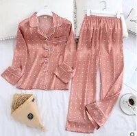 autumn winter leisure tops suit female long sleeve women pijama lapel home faux silk pajamas for women sleepwear dropshipping