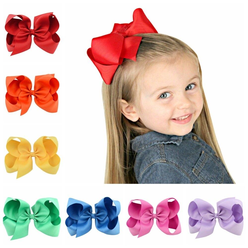 6 Polegada Big Grosgrain Ribbon Sólidos Arcos de Cabelo Com Grampos de cabelo Meninas Grampos de Cabelo Crianças Headwear Acessórios Para O Cabelo Boutique