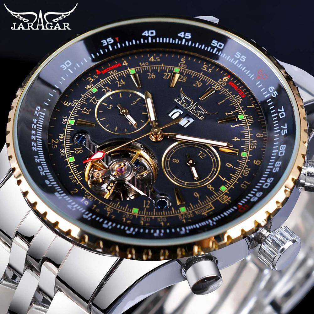 Jaragar relógio mecânico automático, relógio masculino de aço inoxidável de série voadora 2017, escala de moldura dourada