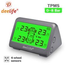 Deelife TPMS Solar Tire Pressure Monitoring System 0-116 Psi 0-8 Bar TMPS Car Tyre Pressure Monitor