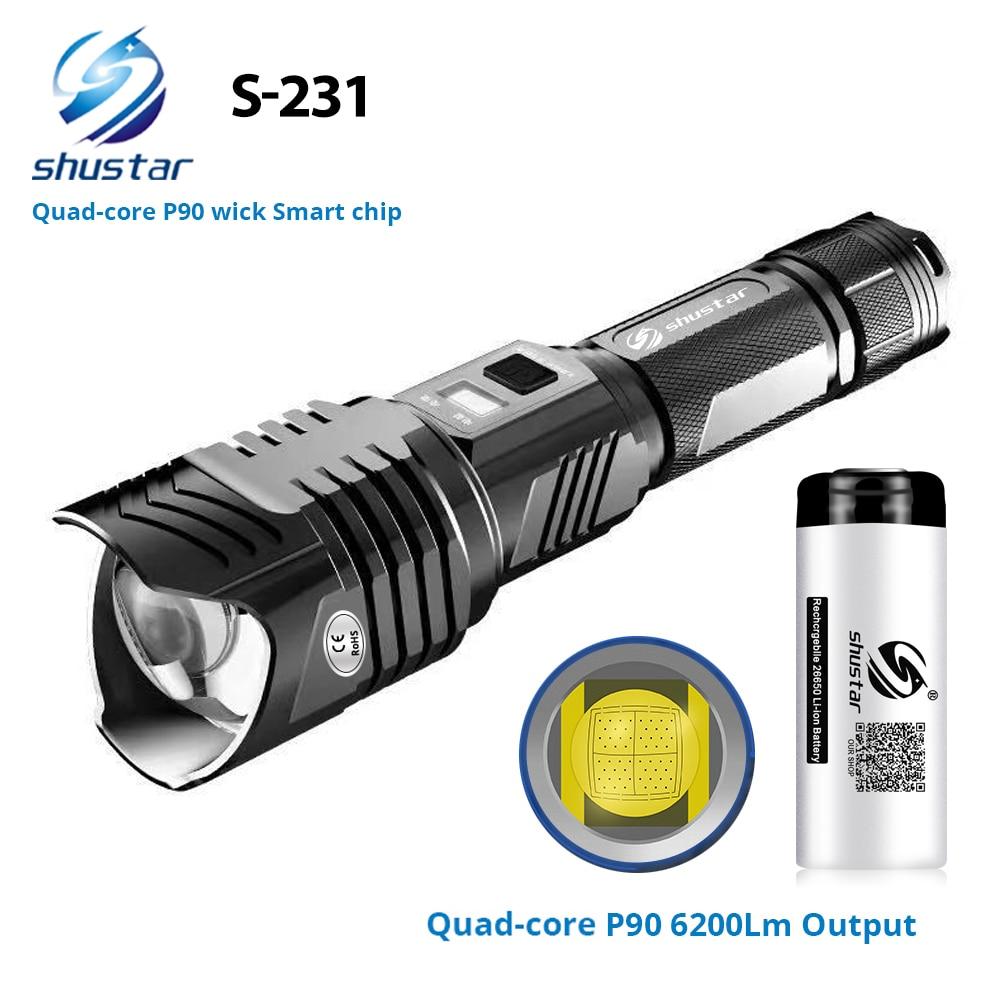 مصباح يدوي LED رباعي النواة XHP90 ، مصباح يدوي فائق السطوع مع رقاقة ذكية مقاومة للماء مع مطرقة أمان خارجية تعمل بالبطارية 26650