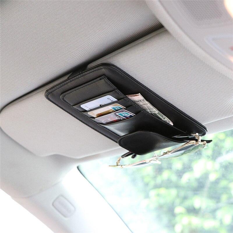 HOT Sale Universal Car Auto Visor Organizer Holder PU Leather Case For Card Glasses Accessories Sun Organizador Car-Styling