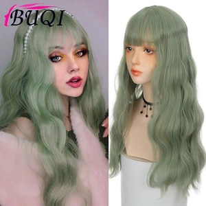 BUQI Long Wave Wig Bangs Green Heat Resistant Synthetic Fake Natural Hair With Middle Hair Part For Women Cosplay Lolita