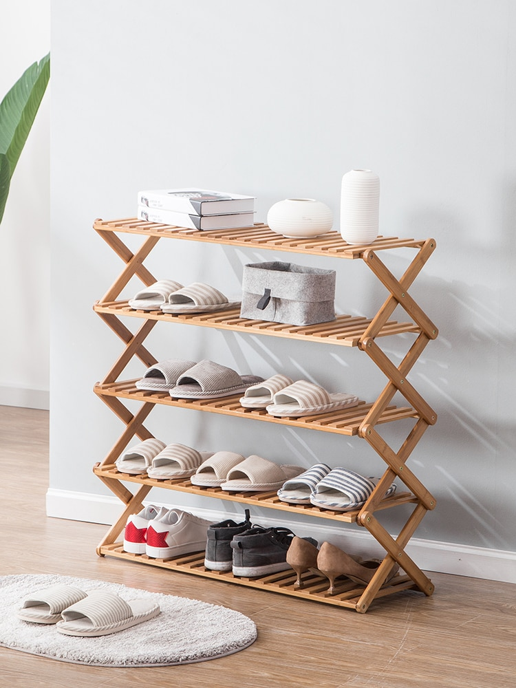 Бамбуковая полка для обуви, резная Пылезащитная многослойная полка для хранения обуви, домашняя Складная стойка для обуви, органайзеры для ...