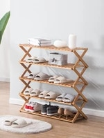 bamboo shoes shelf carved dustproof multi layer shoe storage dormitory household folding shoe rack shoes organizers