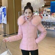 2021 Winter Parkas Women Jacket Fur Collar Hooded Slim Solid Basic Coat Thicken Female Jacket Warm C
