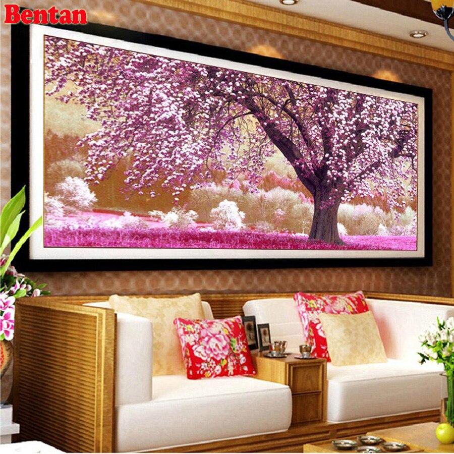 Cuadro Completo cuadrado/redondo 5D pintura de diamantes DIY paisaje de árbol Sakura cuadro de pared bordado de diamantes mosaico de decoración con piedras de imitación