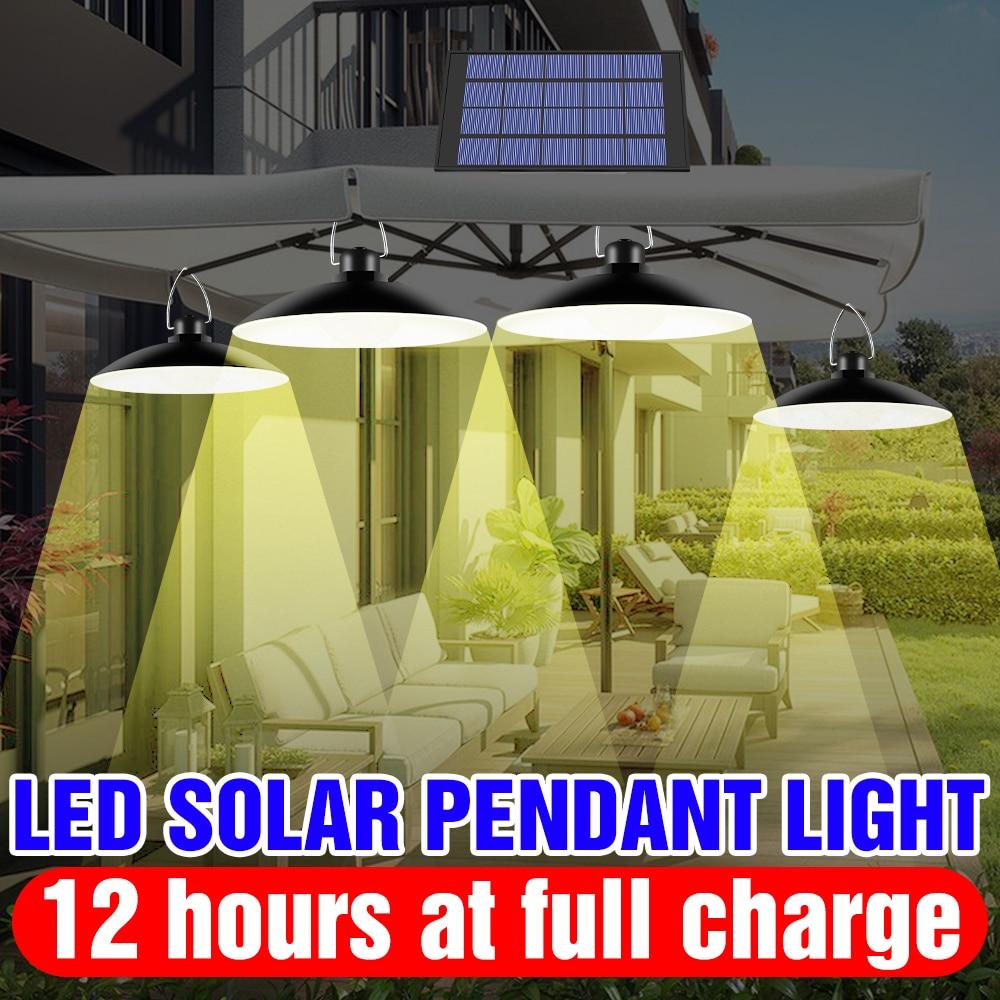 Solar LED Lamp Outdoor Pendant Light Bulb Waterproof Street Spotlight 25W 30W For Country House Garden LED Solar Powered Lantern