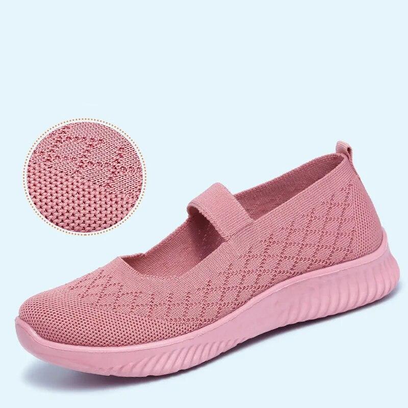 الوردي حك أحذية رياضية المرأة مطاطا كهف أحذية ماري جين الشقق النساء الراحة حذاء سير مسطح أحذية الصيف Sandels لكبار السن