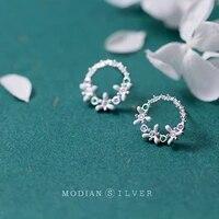 modian real 925 sterling silver fashion crystal flower stud eearrings for women charm classic ear pins studs fine jewelry