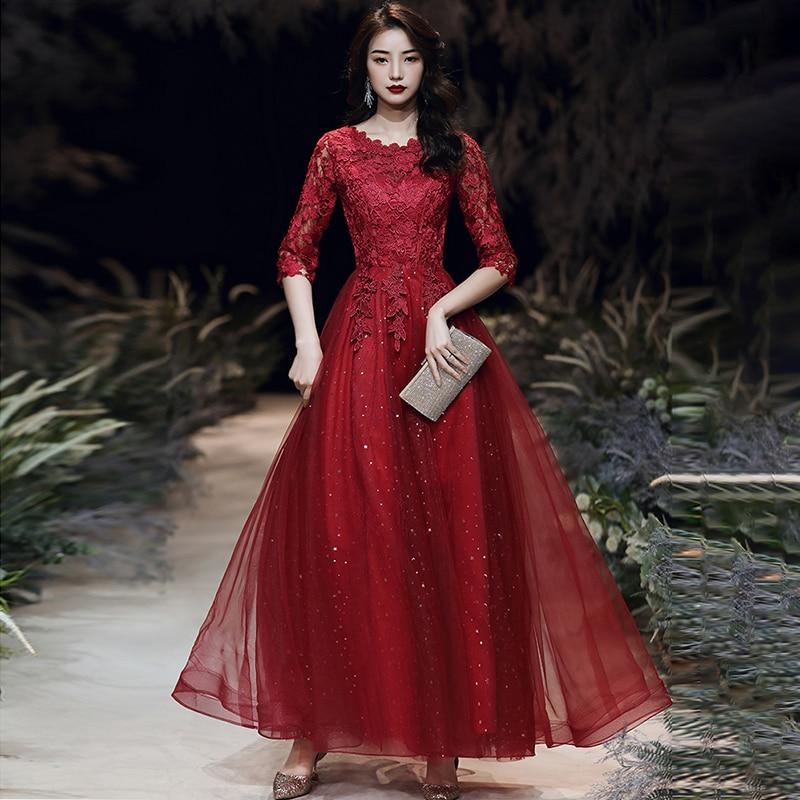 فستان سهرة نسائي من الدانتيل ، عنابي ، نصف كم ، خط a ، ياقة دائرية ، مقاس كبير ، فستان حفلات رسمي مخصص ، A093