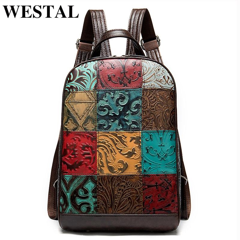 WESTAL المرأة مصمم حقيبة ظهر لجهاز الكمبيوتر المحمول حقيبة جلدية للكمبيوتر المحمول Mochila حقيبة مدرسية للفتيات حقيبة ظهر للسفر الإناث