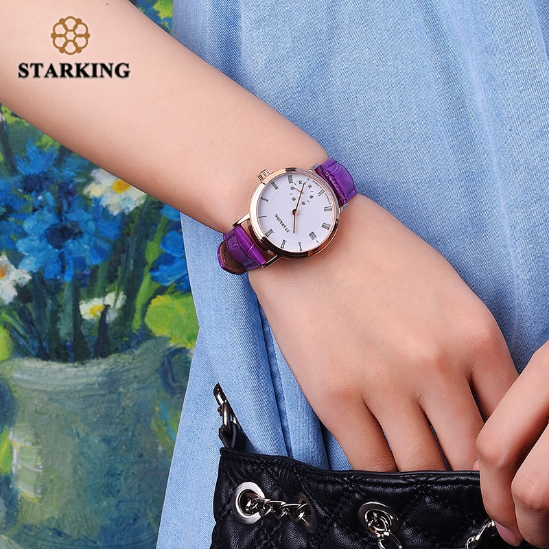 STARKING Mechanical Watch Women Sapphire Crystal Waterproof Automatic Self-Wind Wristwatches Auto Date Genuine Leather Relogio enlarge