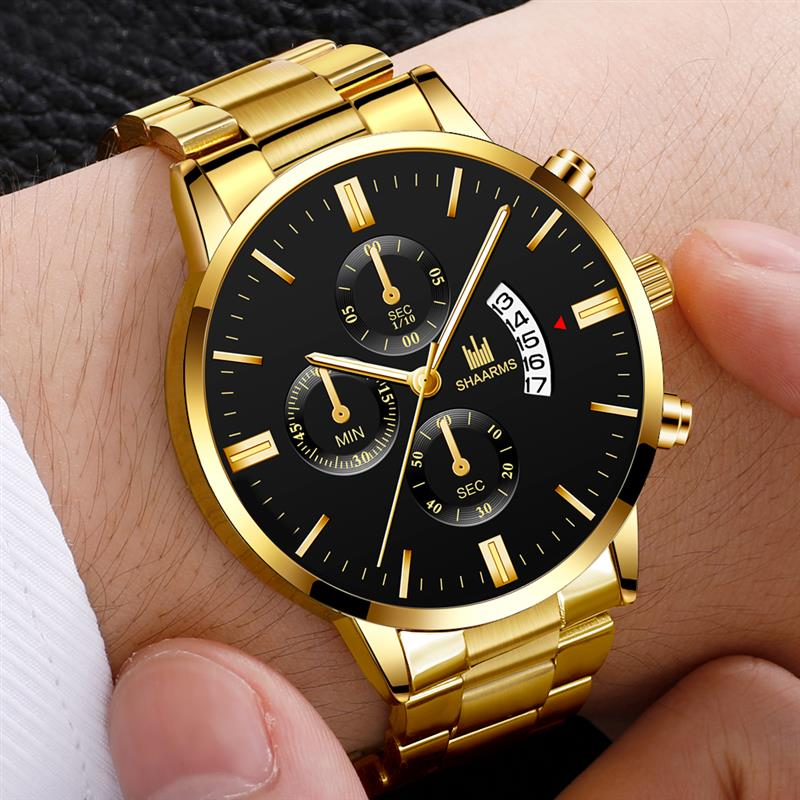 Men luxury business Military Quartz watch golden stainless steel band men watches Date calendar male clock Relogio direct watch men s watch luxury business stainless steel band quartz watch men white dial calendar fashion clock wristwatch relogio masculino