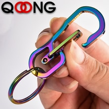 QOONG 2020 Color-plated Titanium Metal Keyring Mens Stainless Steel Keychain Key Holder Belt Buckles Trinket Car Key Chain Y81