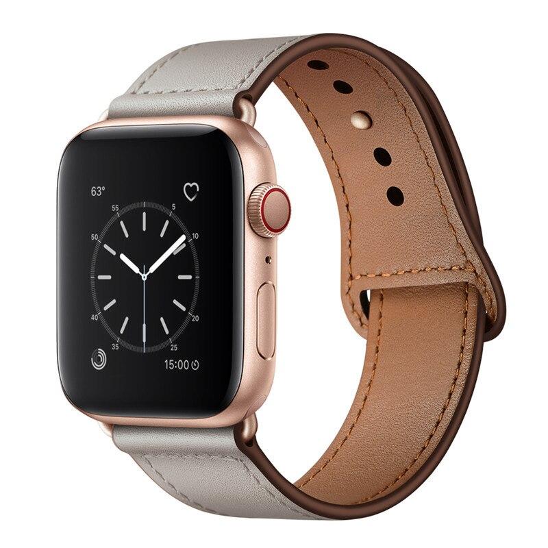 Bracelet en cuir véritable pour bracelet de montre Apple 44mm 40mm bracelet de remplacement correa pour montre apple SE 3 4 5 6 42mm 38mm ceinture