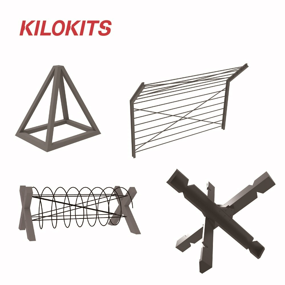 1/72 Military Anti-Tank Obstacles Set Unpainted Plastic and Etching for WWII Diorama Scenery  Model Building Accessories Kits