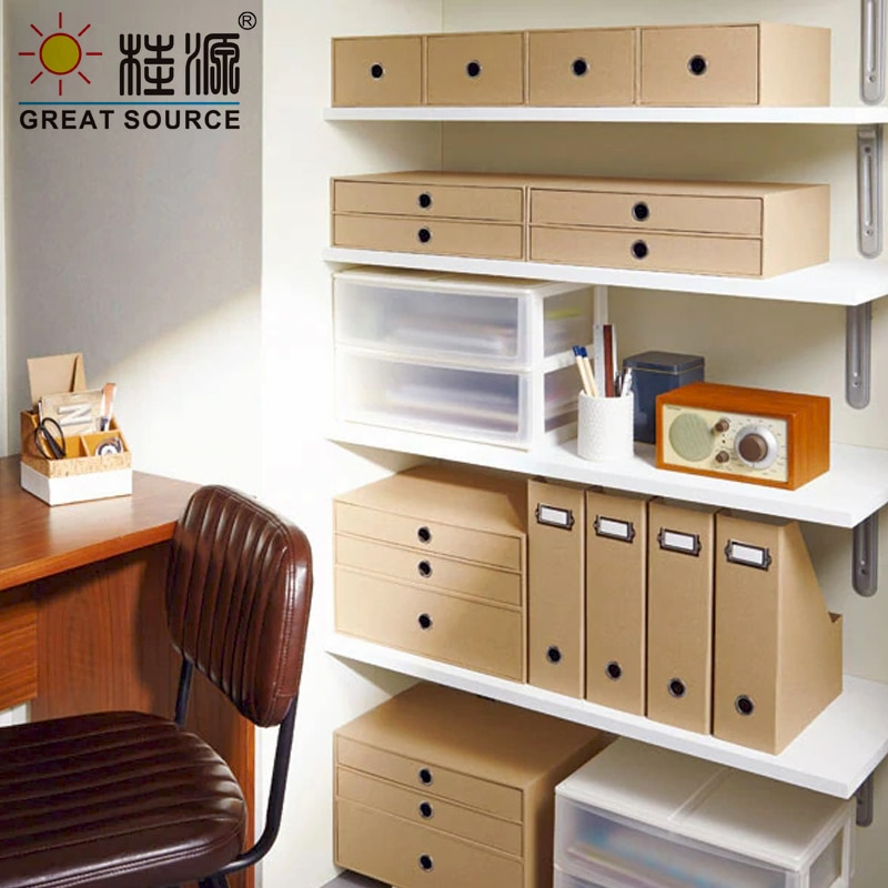 2 Drawers Cabinet Cardboard Office Desk Top Organizer Home Storage One Layer Cabinet Beige Faux Linen Natural Wood Paper(2PCS)